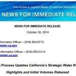 California publica los Titulares y volúmenes iniciales de la Actualización 2013 de su Plan Hidrológico