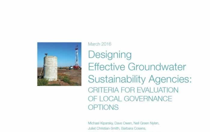 Sostenibilidad de las aguas subterráneas: gobernanza y diseño institucional