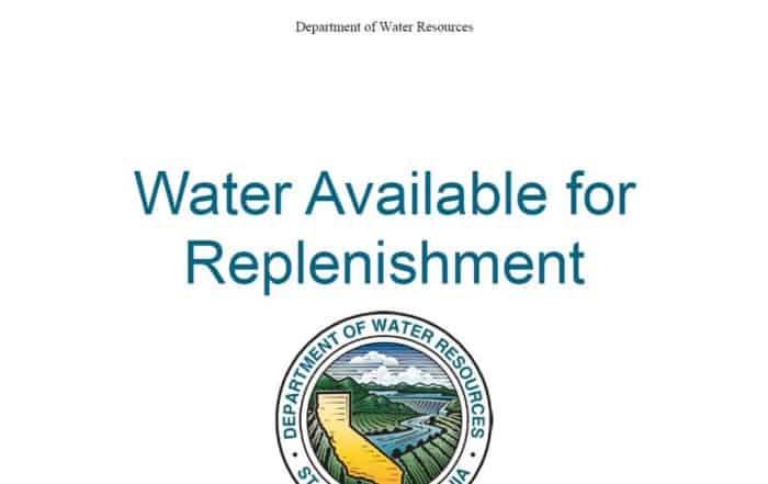 Agua para recarga: informe del Departamento de Recursos Hídricos