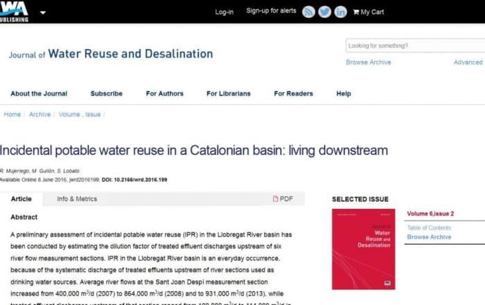 Reutilización incidental potable indirecta en Catalunya