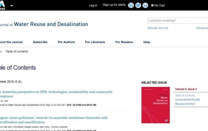 El Journal of Water Reuse and Desalination en Open Access