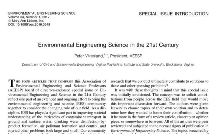 Edición especial de Environmental Engineering Science gratuita