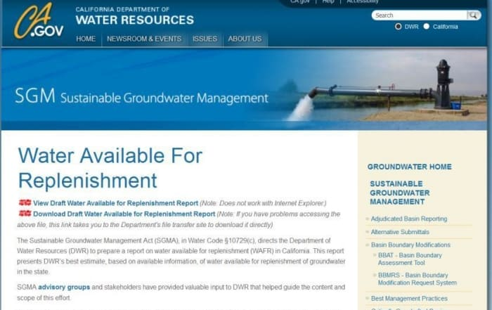 Escasez de agua para la recarga de acuíferos