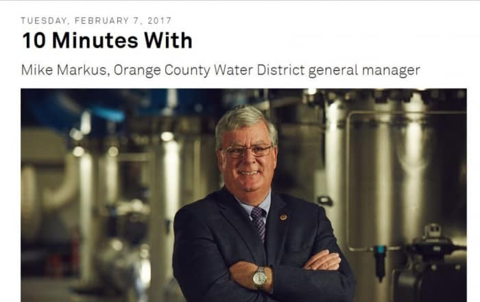 10 minutos con Mike Markus, director general del Orange County Water District