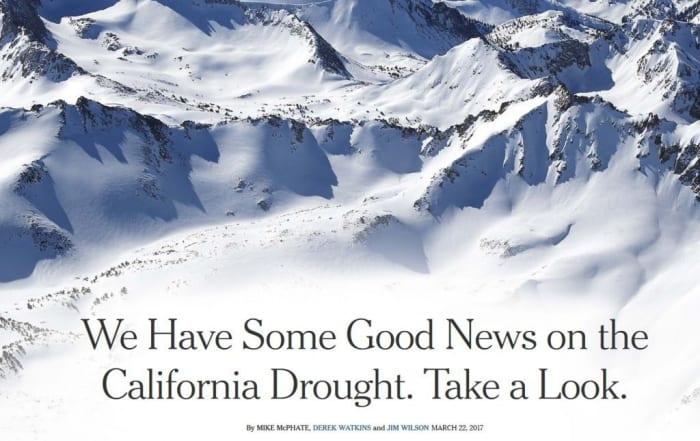 La nieve de California vista desde el cielo