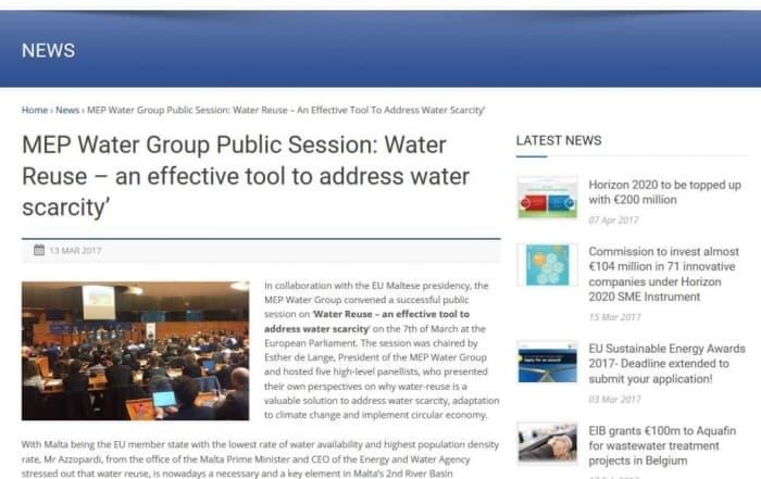 El MEP Water Group y la reutilización del agua