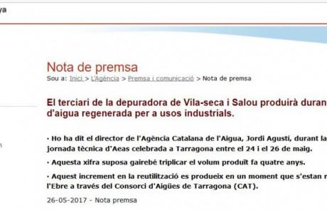 La ERA de Vila-seca i Salou producirá más de 4,5 hm3 de agua en 2017