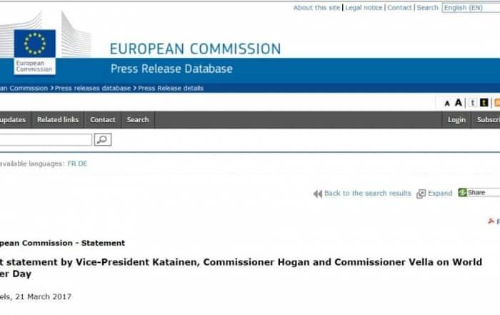 Declaración de la UE sobre la reutilización del agua