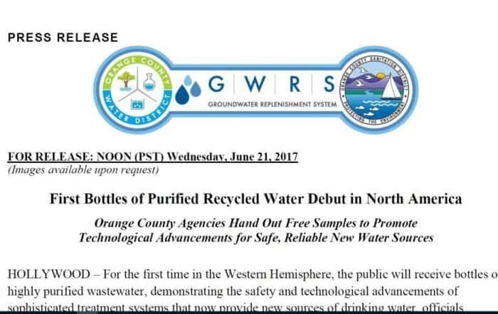 Primeras botellas de agua regenerada en Norteamérica