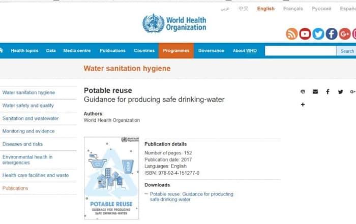 Directrices de la OMS para la reutilización potable