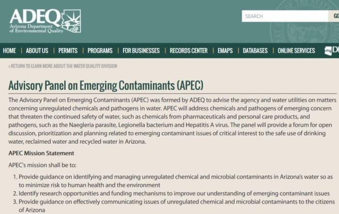 Panel Asesor sobre contaminantes emergentes de Arizona
