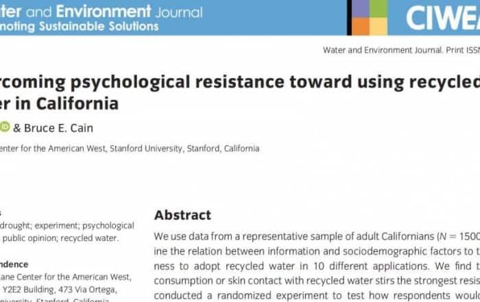 La resistencia sicológica al agua regenerada