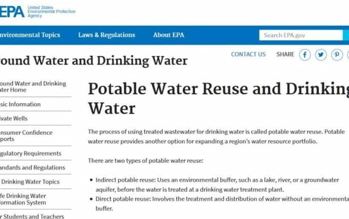 Reutilización potable del agua en EEUU