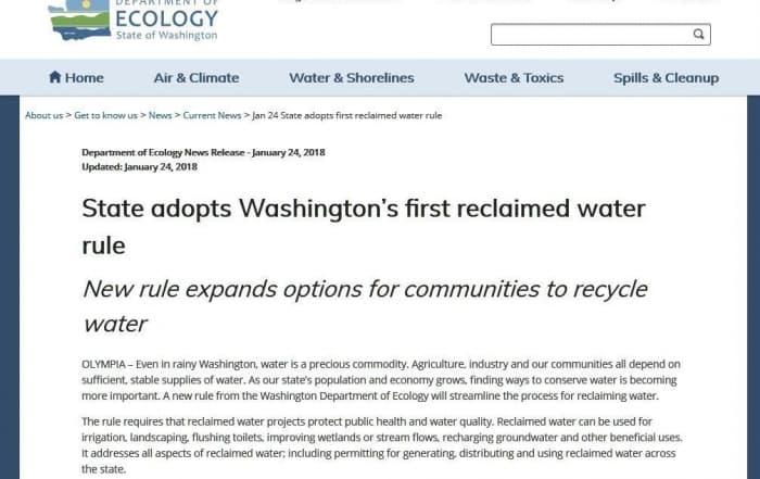 Primera norma sobre reutilización del agua en Washington
