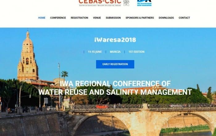 IWARESA 2018 Conferencia sobre reutilización de agua y gestión de la salinidad