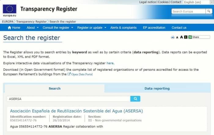Renovación anual de ASERSA en el Registro de Transparencia de la UE