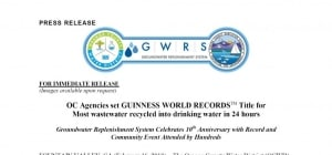 OCWD y OCSD establecen un record Guinness de regeneración de agua