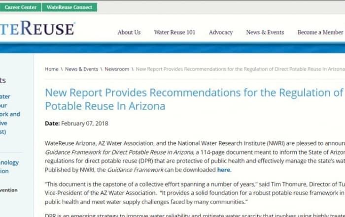 Recomendaciones para la reutilización potable directa en Arizona