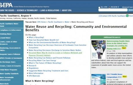 Incorporando la reutilización potable del agua en los EEUU
