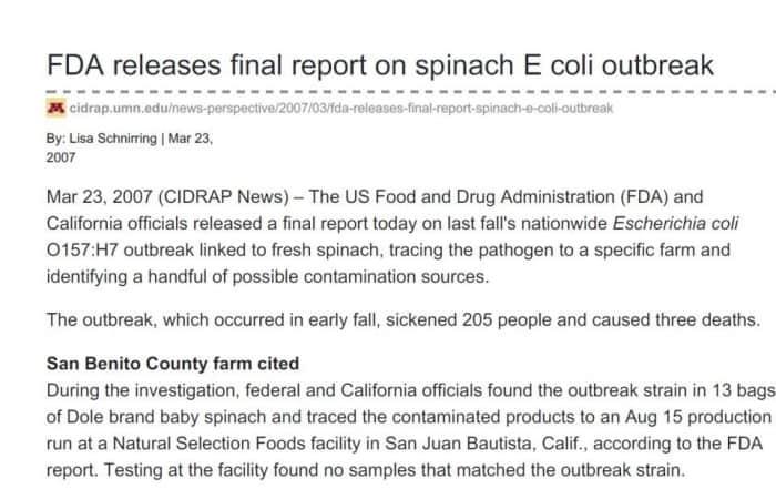 Informe de la FDA sobre intoxicación con espinacas en 2007