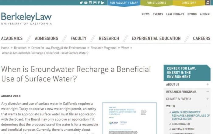 Informe temático sobre recarga de acuíferos