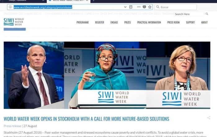 El World Water Week de Estocolmo 2018: una llamada en favor de las soluciones basadas en la naturaleza