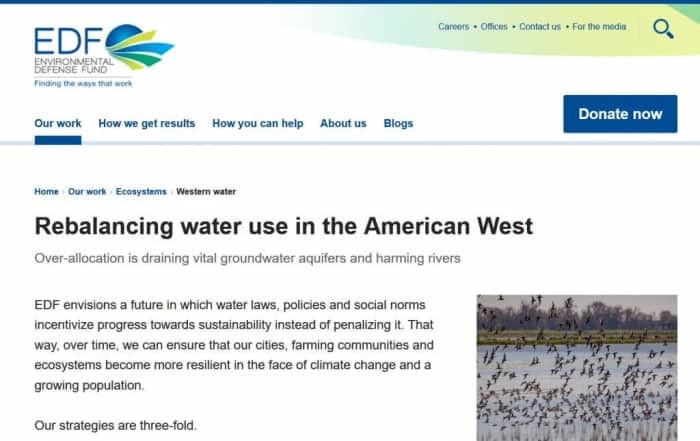Reequilibrar el uso del agua en el oeste americano