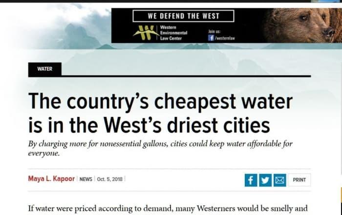 El agua más barata es la de las ciudades más secas del oeste