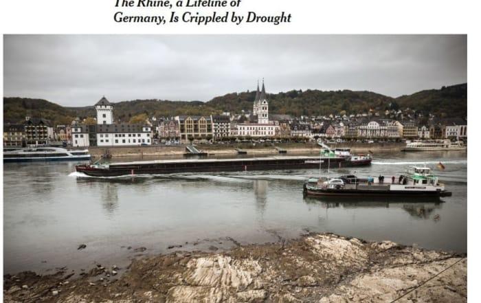 El Rin, arteria esencial de Alemania, paralizado por la sequía