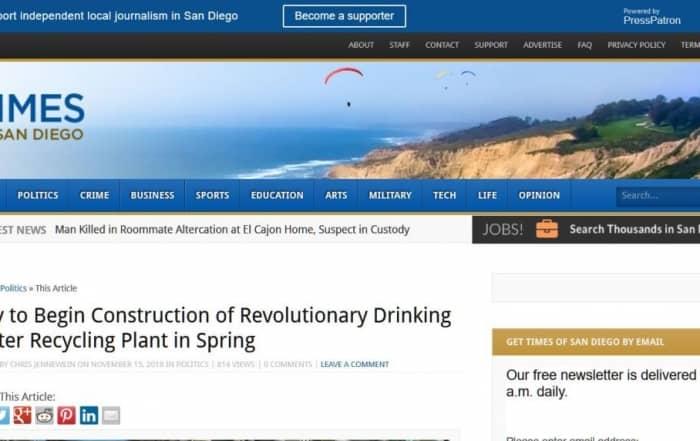 """San Diego inicia la construcción de una planta """"revolucionaria"""" de regeneración"""