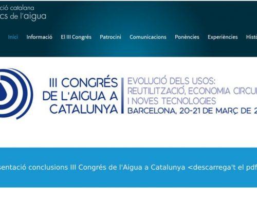 Ponencias III Congrès de l'Aigua à Catalunya 2019
