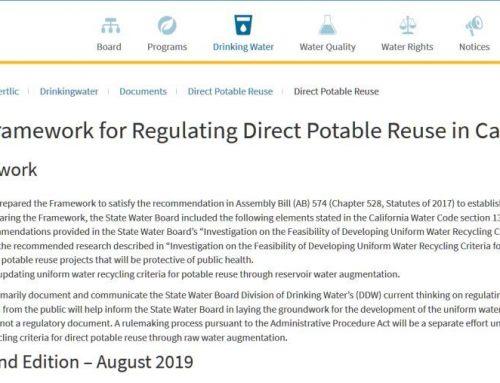 Marco normativo de referencia para la reutilización potable directa en California