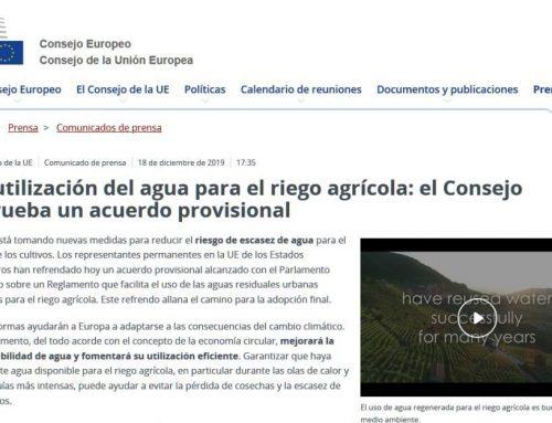 Propuesta de acuerdo final del Reglamento europeo sobre reutilización del agua para riego agrícola