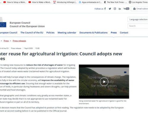 Reutilización de agua para riego agrícola: nueva posición del Consejo de Europa