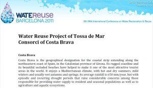 Ficha informativa del proyecto de reutilización en Tossa de Mar