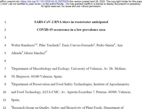 SARS-CoV-2 en agua residual e incidencia del COVID-19 en España