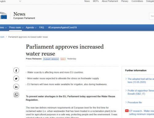 El Parlamento europeo aprueba el Reglamento sobre reutilización del agua