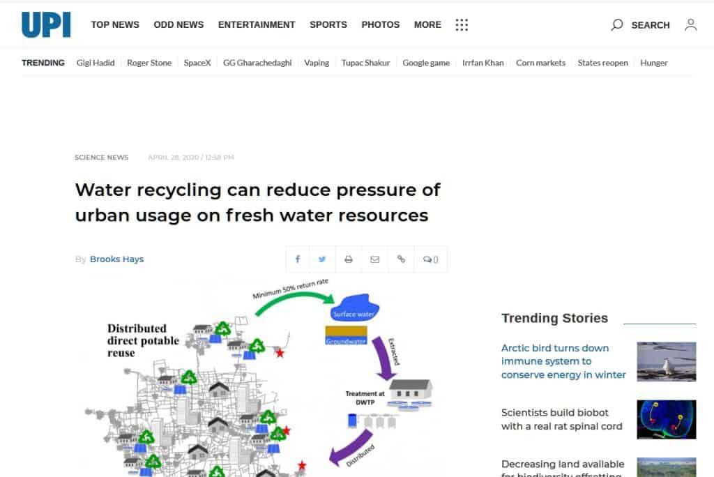 Menor demanda urbana de recursos naturales con reutilización