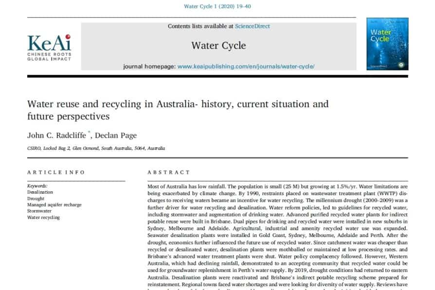 La reutilización de agua en Australia: historia, situación actual y perspectivas futuras
