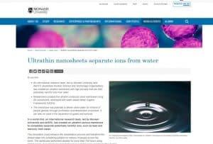 Láminas superfinas para separar los iones del agua