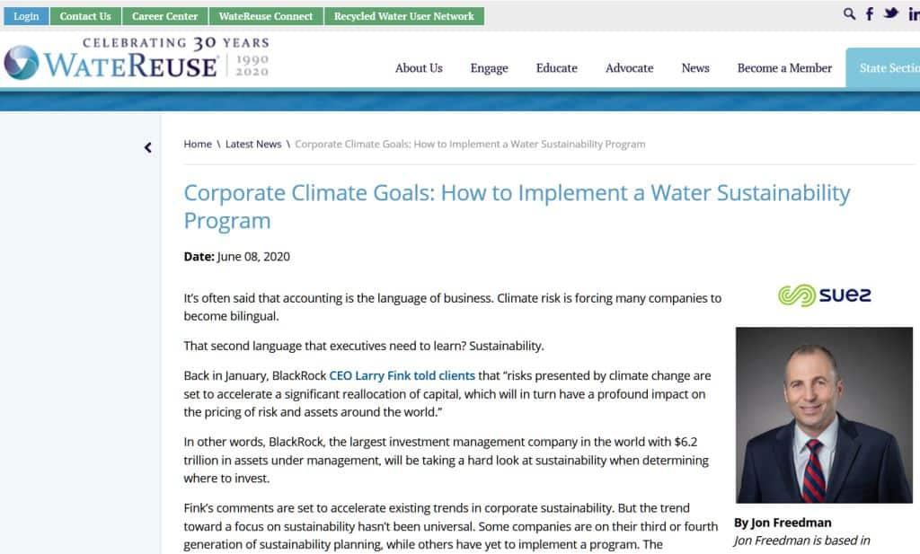 Objetivo empresarial: implantar un programa de sostenibilidad hídrica