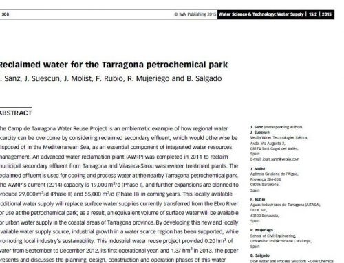 Agua regenerada para uso en la industria petroquímica de Tarragona