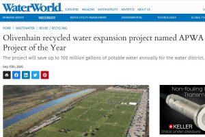 Riego de jardinería con agua regenerada en Olivenhain: Proyecto del Año de la APWA