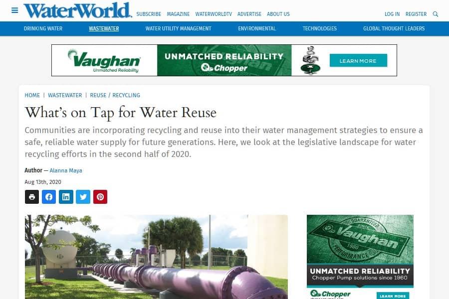 La complejidad legislativa de la reutilización del agua en los EEUU