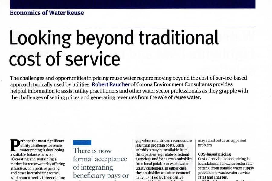 Más allá del coste del agua regenerada