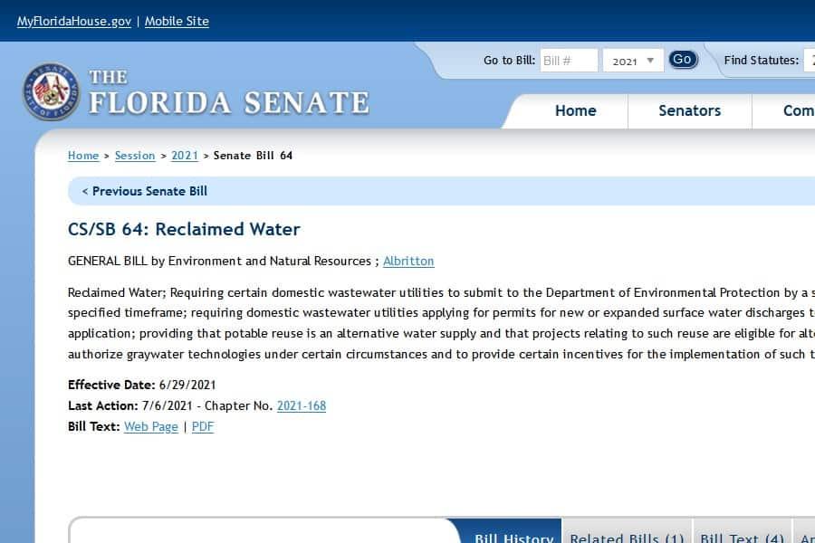 Iniciativas para la reutilización potable en Florida