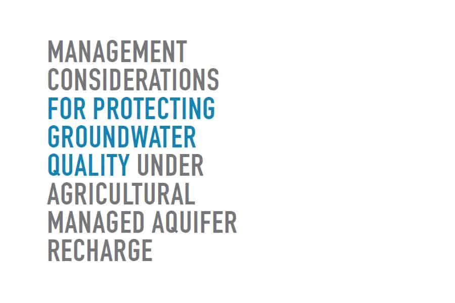 Calidad del agua utilizada para la recarga de acuíferos