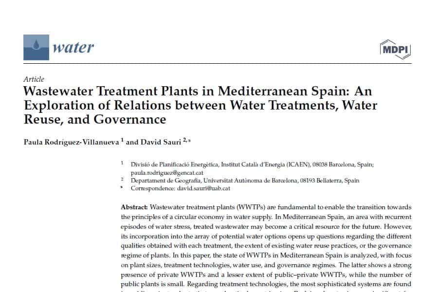 La depuración del agua en la España Mediterránea
